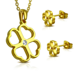 Arany színű nemesacél szett, lóhere alakú medállal és fülbevalóval, cirkónia kristállyal