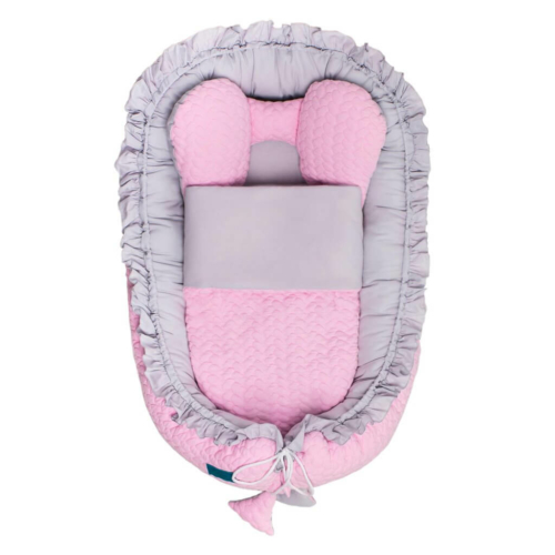 BELISIMA Luxus babafészek paplannal kisbabák számára Belisima Nyuszi rózsaszín