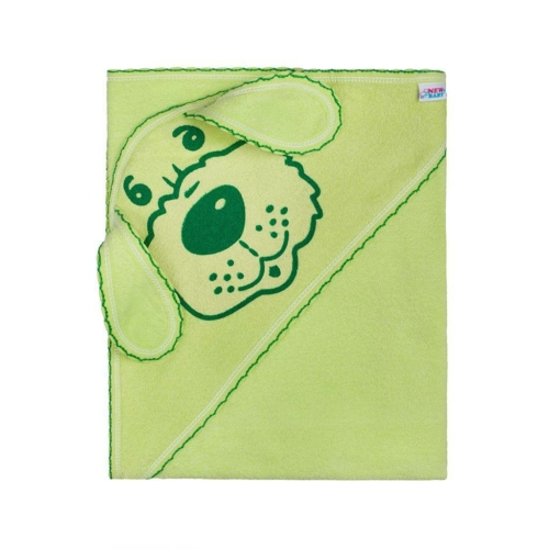 NEW BABY Gyerek törölköző (kifogó) kutyus 100x100 zöld