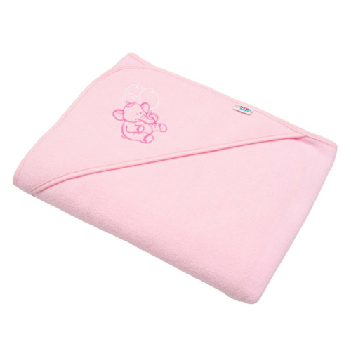 NEW BABY Gyermek frottír törölköző hímzéssel és kapucnival New Baby 100x100 rózsaszín elefánt