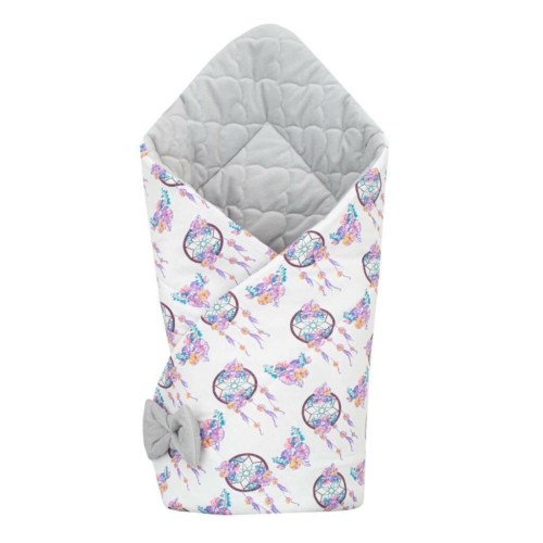 NEW BABY Kétoldalas pólya Velvet New Baby 75x75 cm álom elkapó szürke