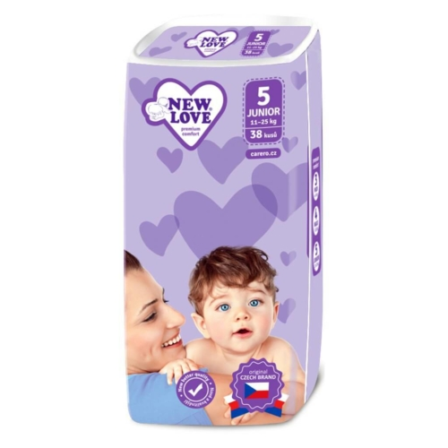 NEW LOVE Gyermek eldobható pelenka New Love Premium comfort 5 JUNIOR 11-25 kg 38 db