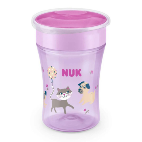 NUK Bájos itató pohár Magic NUK 360° fedéllel pink