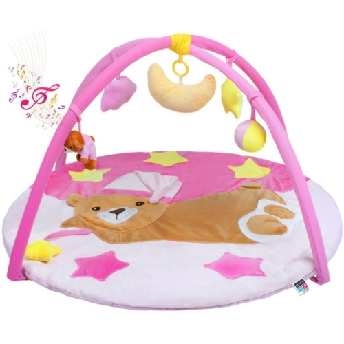 PLAYTO Játszószőnyeg melódiával PlayTo alvó maci rózsaszín